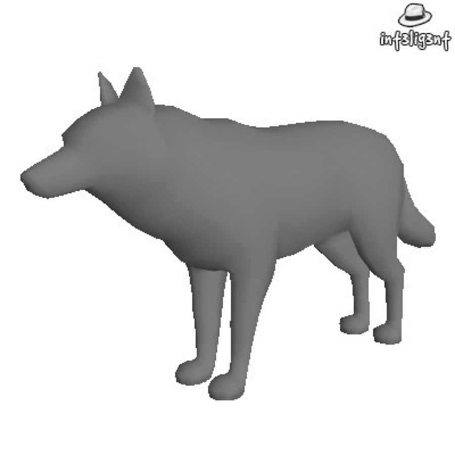 Low Poly Wolf royalty-free 3d model - Preview no. 1