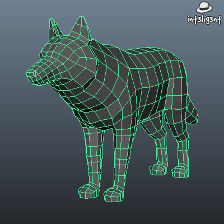 Low Poly Wolf royalty-free 3d model - Preview no. 4