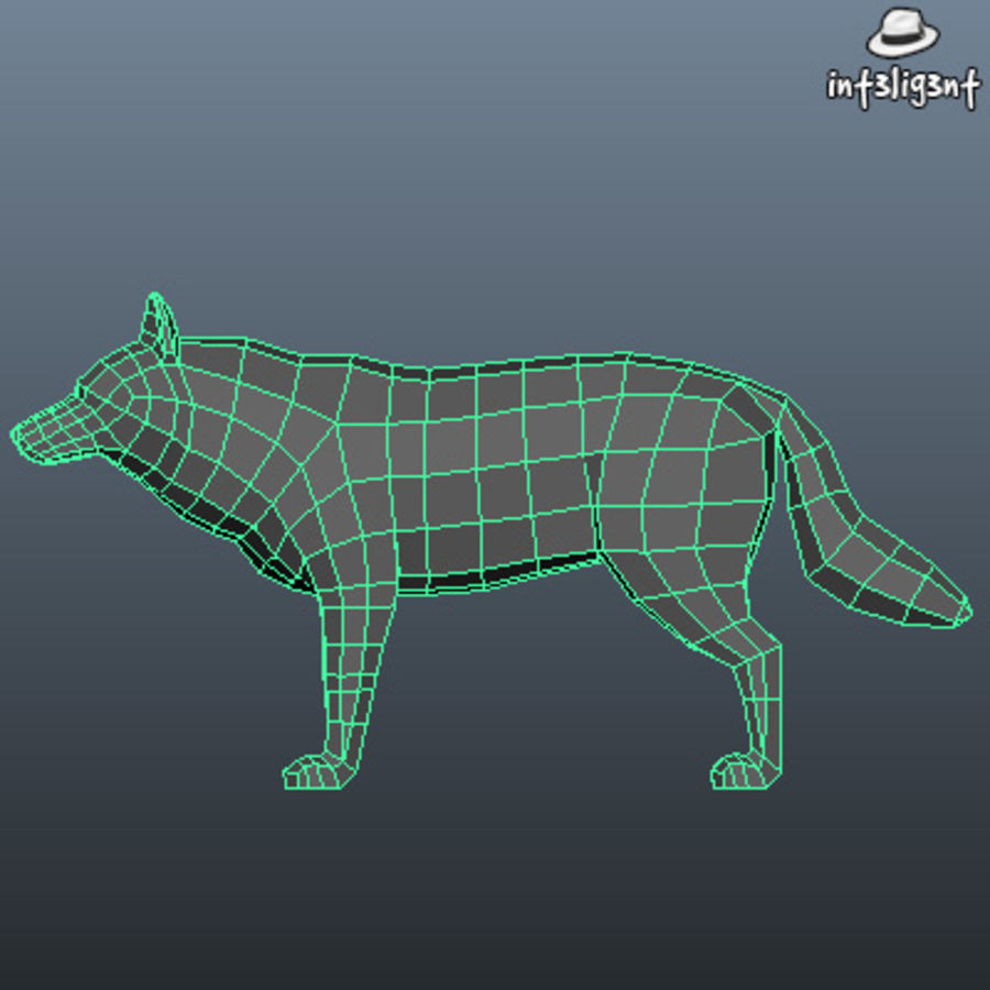 Low Poly Wolf royalty-free 3d model - Preview no. 5