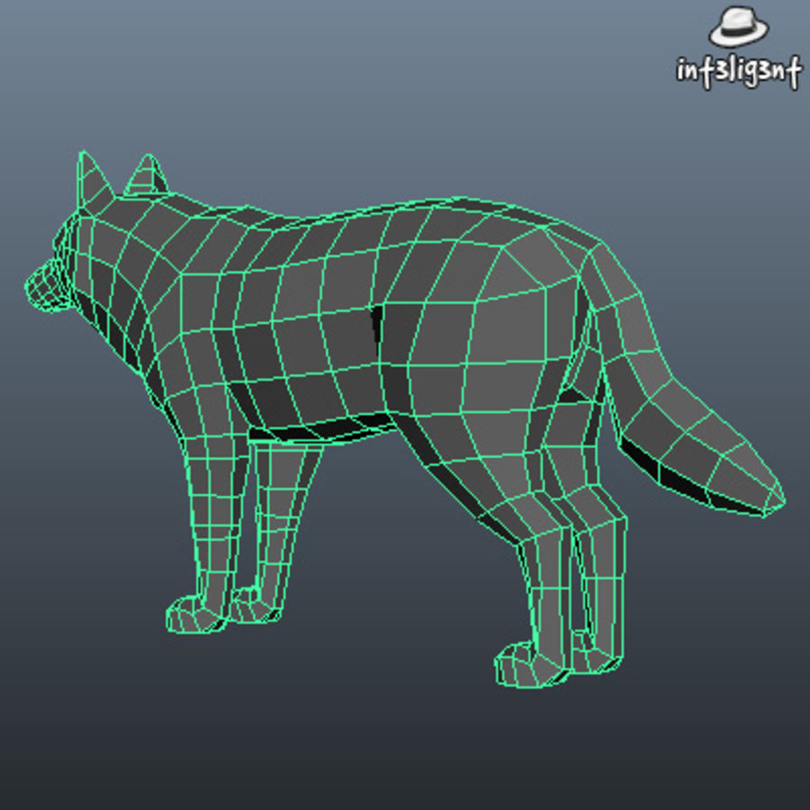 Low Poly Wolf royalty-free 3d model - Preview no. 6