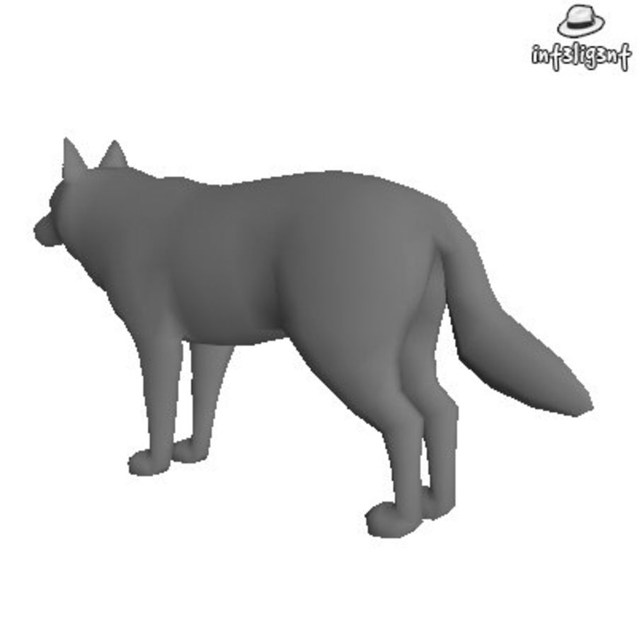 Low Poly Wolf royalty-free 3d model - Preview no. 3