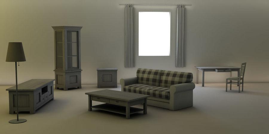 Vardagsrum möbler royalty-free 3d model - Preview no. 1