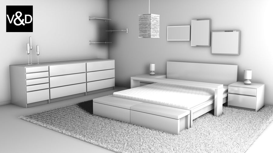 Malm Furniture Collection von IKEA royalty-free 3d model - Preview no. 1