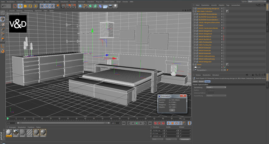 IKEA Malm Furniture Collection royalty-free 3d model - Preview no. 3