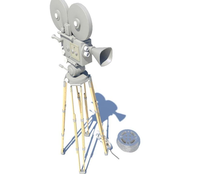 Film Movie Camera With Reel royalty-free 3d model - Preview no. 1