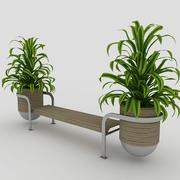 Скамья и растения 3d model