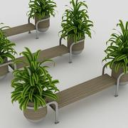 Ławka i rośliny 3d model