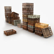 Wooden Fruit Crates Collection 3d model