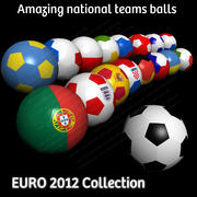 Euro 2012 Football Soccer Balls Flag Collection 3d model