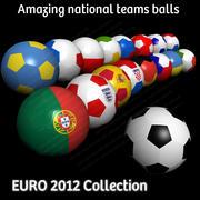 Euro 2012 Football Soccer Balls Flag Collection 3d model