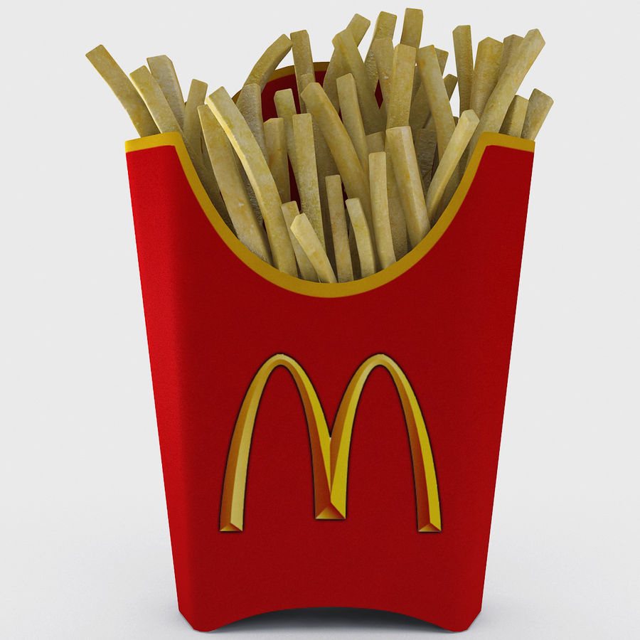 McDonalds French Fries royalty-free 3d model - Preview no. 3