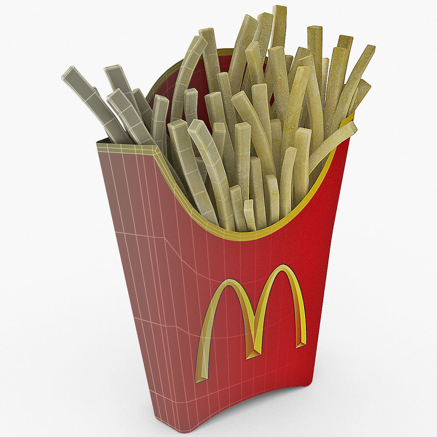 McDonalds French Fries royalty-free 3d model - Preview no. 9