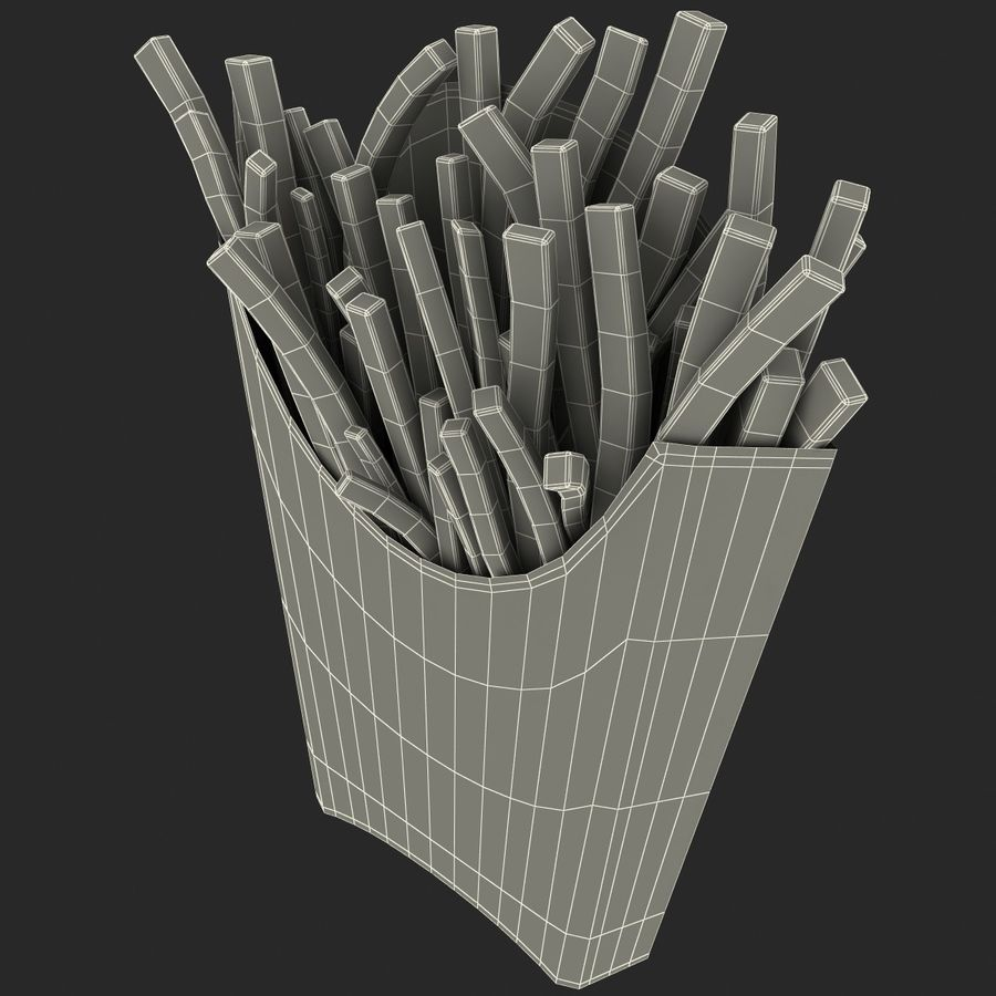 McDonalds French Fries royalty-free 3d model - Preview no. 14
