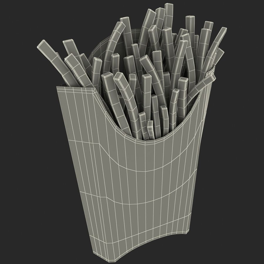 McDonalds French Fries royalty-free 3d model - Preview no. 10