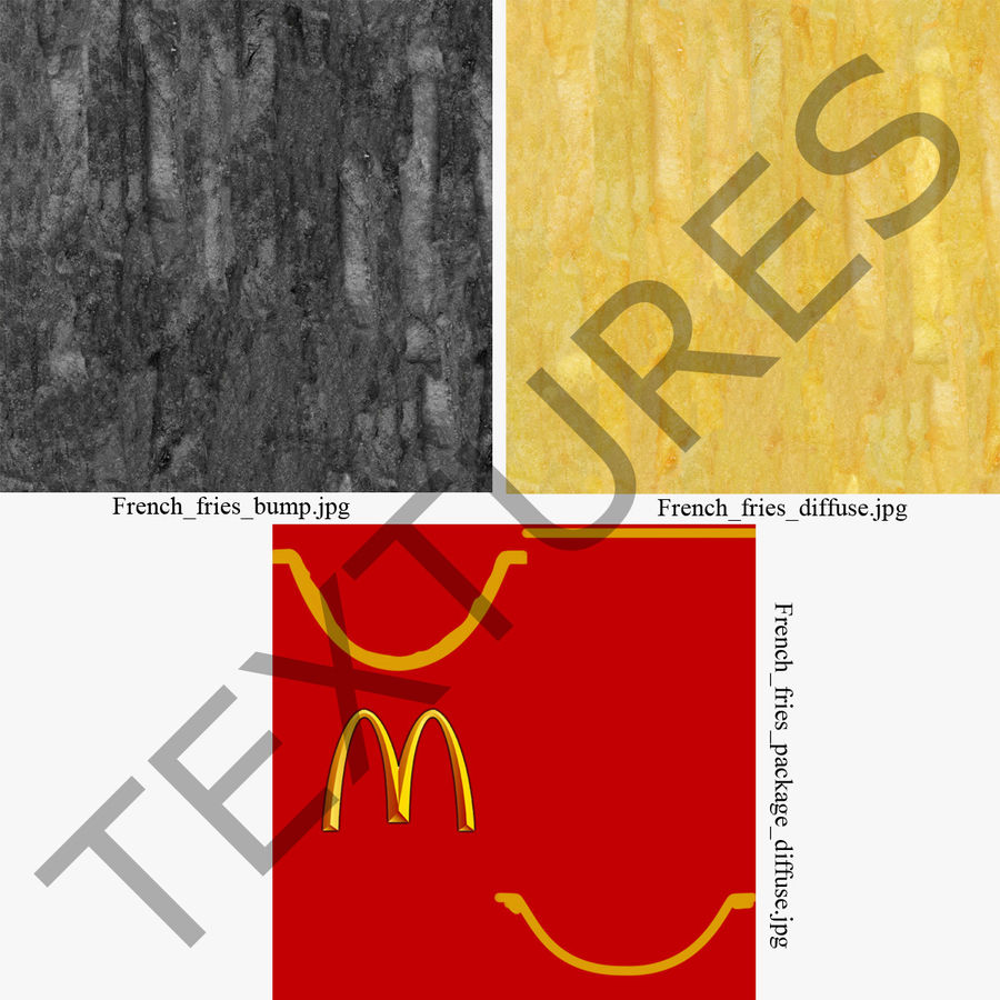 McDonalds French Fries royalty-free 3d model - Preview no. 17