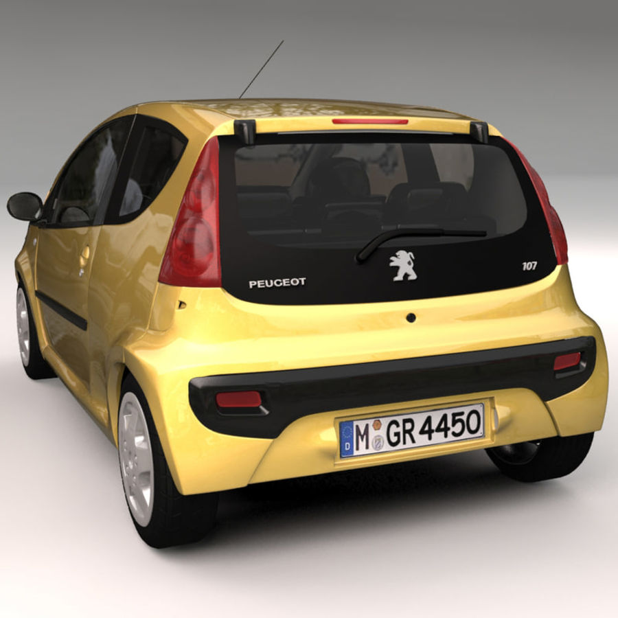 Peugeot 107 2012 royalty-free 3d model - Preview no. 2