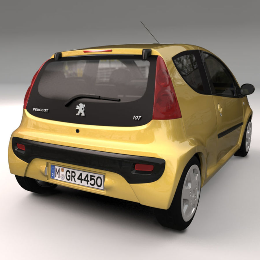 Peugeot 107 2012 royalty-free 3d model - Preview no. 8