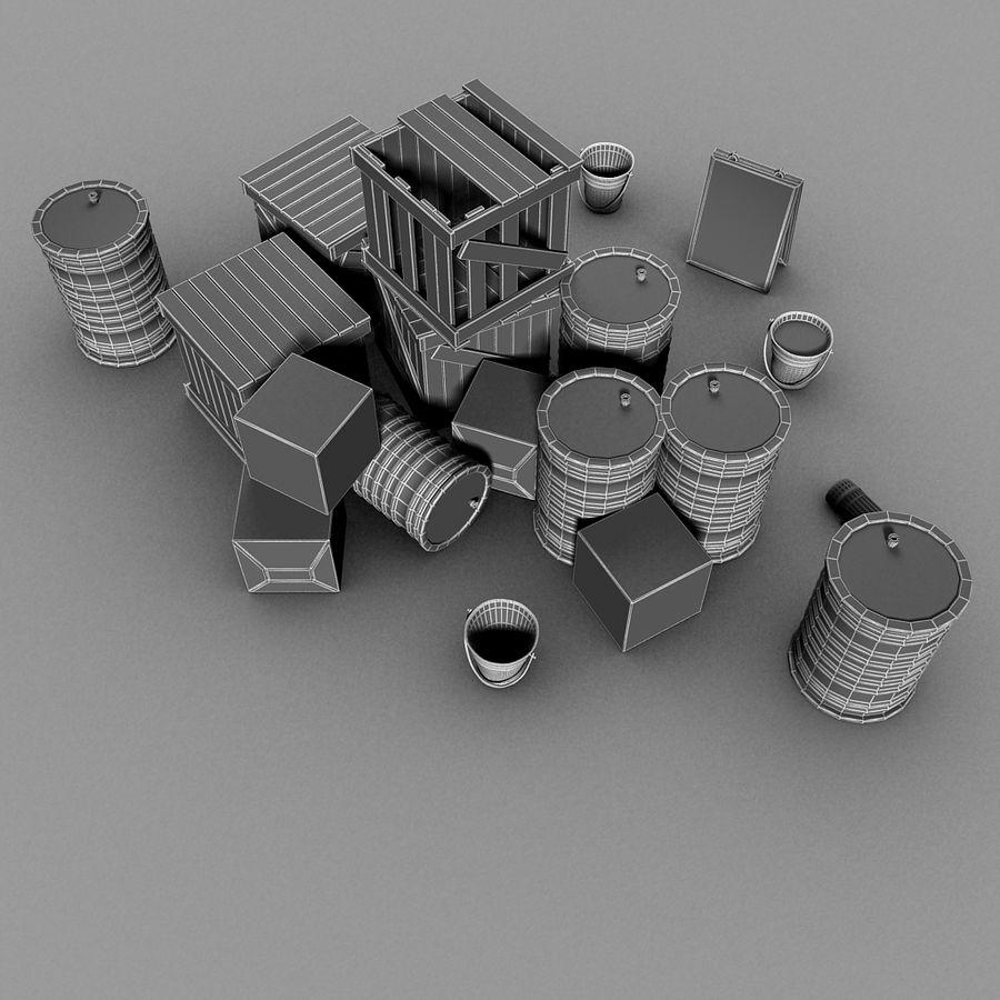 Junk Metal Barrels Wooden Crates royalty-free 3d model - Preview no. 21