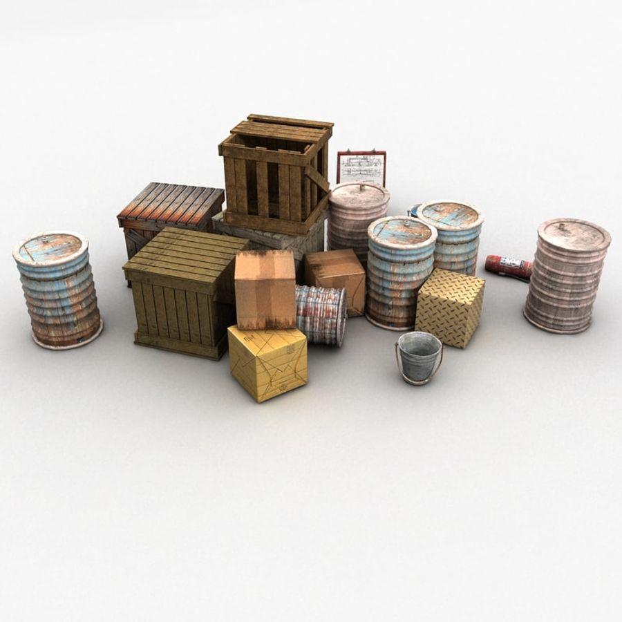 Junk Metal Barrels Wooden Crates royalty-free 3d model - Preview no. 8