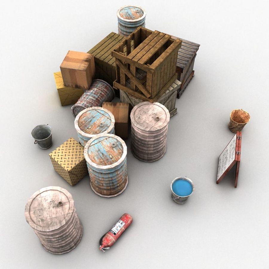 Junk Metal Barrels Wooden Crates royalty-free 3d model - Preview no. 4