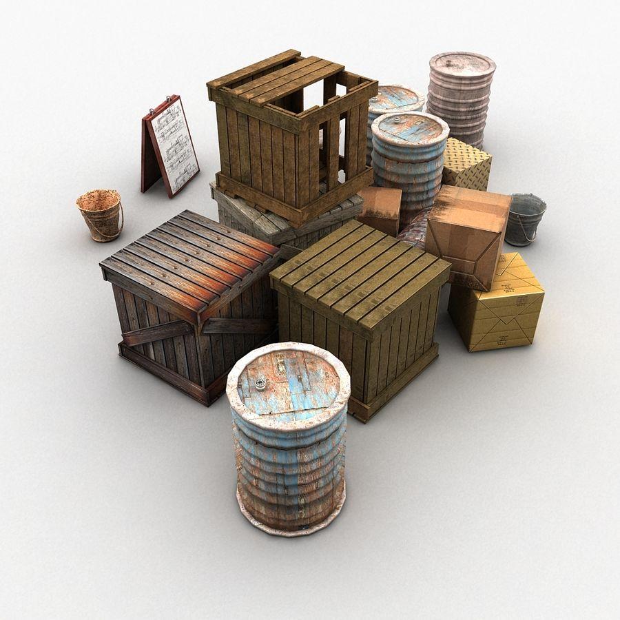 Junk Metal Barrels Wooden Crates royalty-free 3d model - Preview no. 7