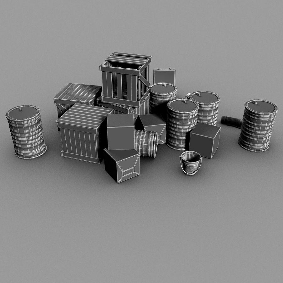 Junk Metal Barrels Wooden Crates royalty-free 3d model - Preview no. 19