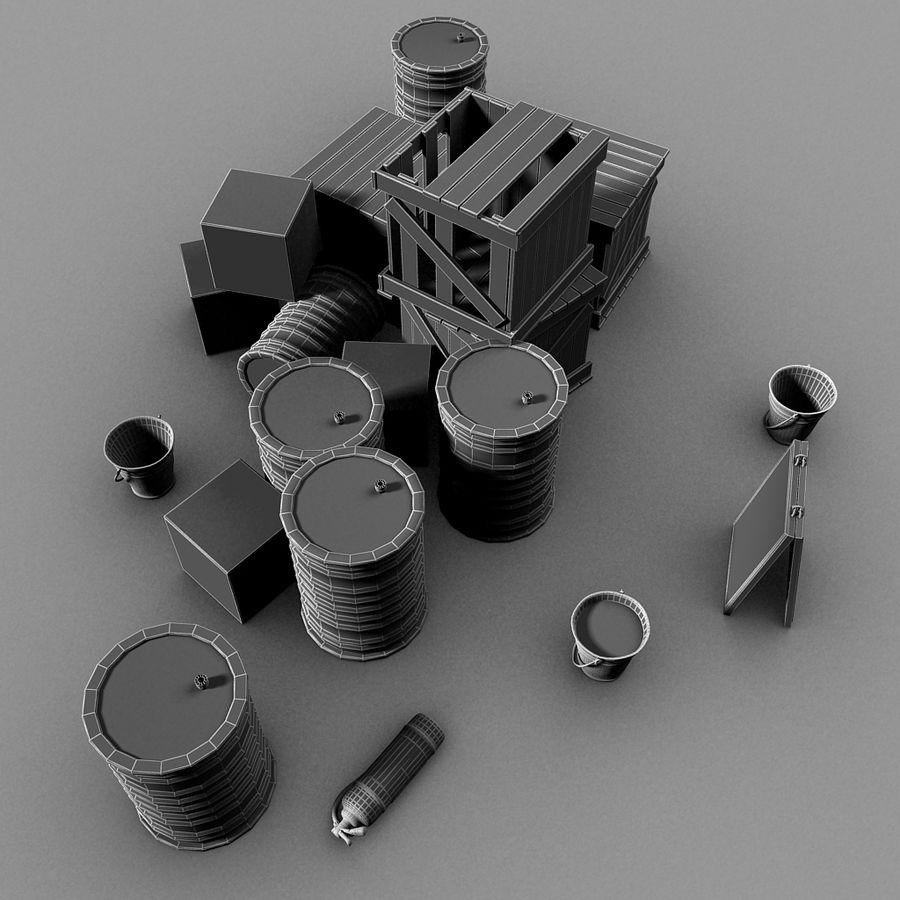 Junk Metal Barrels Wooden Crates royalty-free 3d model - Preview no. 15
