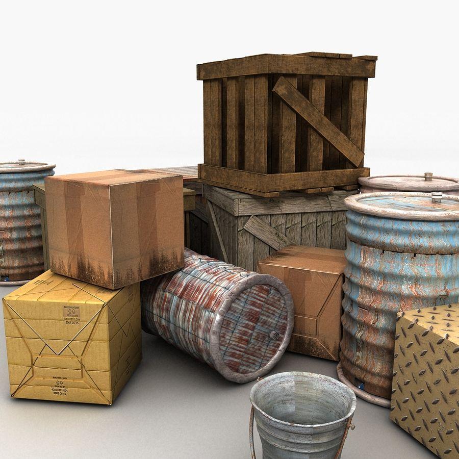 Junk Metal Barrels Wooden Crates royalty-free 3d model - Preview no. 11