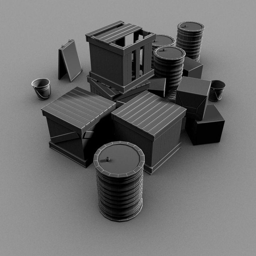 Junk Metal Barrels Wooden Crates royalty-free 3d model - Preview no. 18