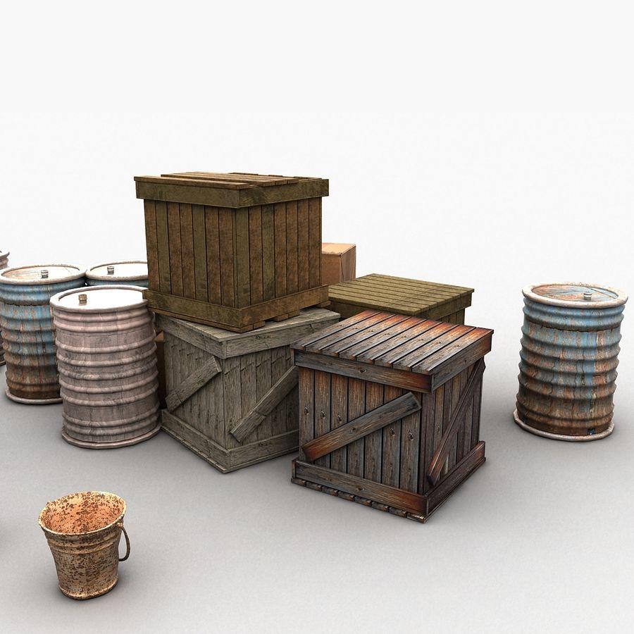 Junk Metal Barrels Wooden Crates royalty-free 3d model - Preview no. 13