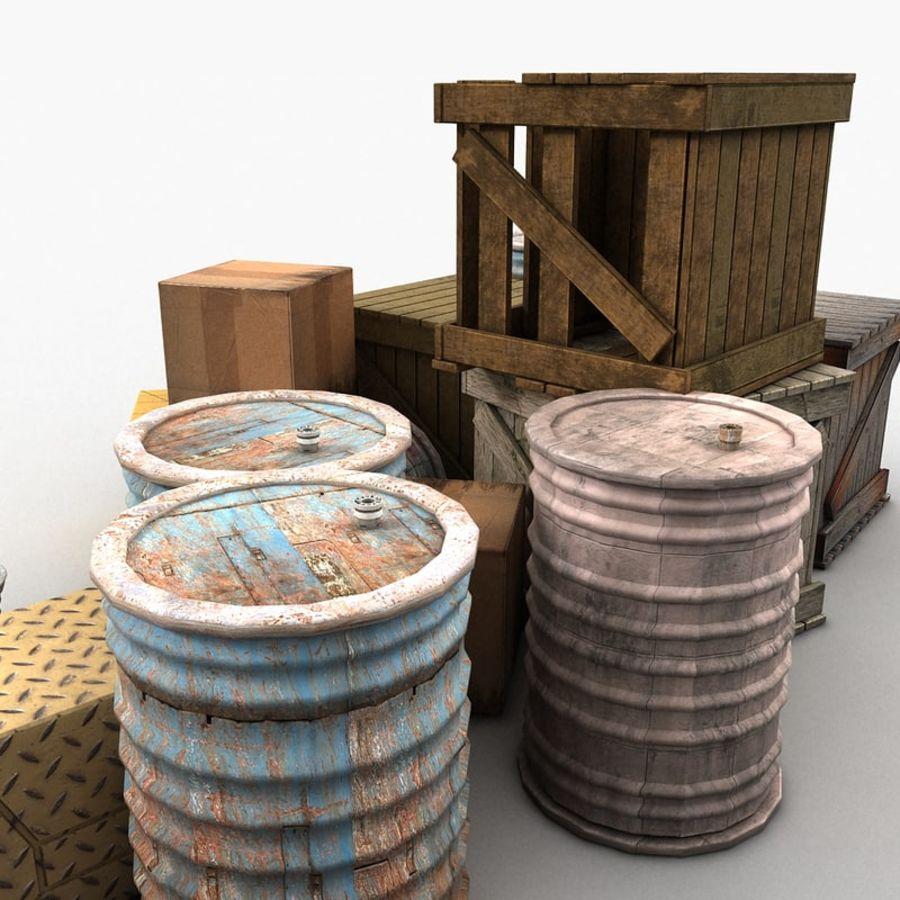 Junk Metal Barrels Wooden Crates royalty-free 3d model - Preview no. 10