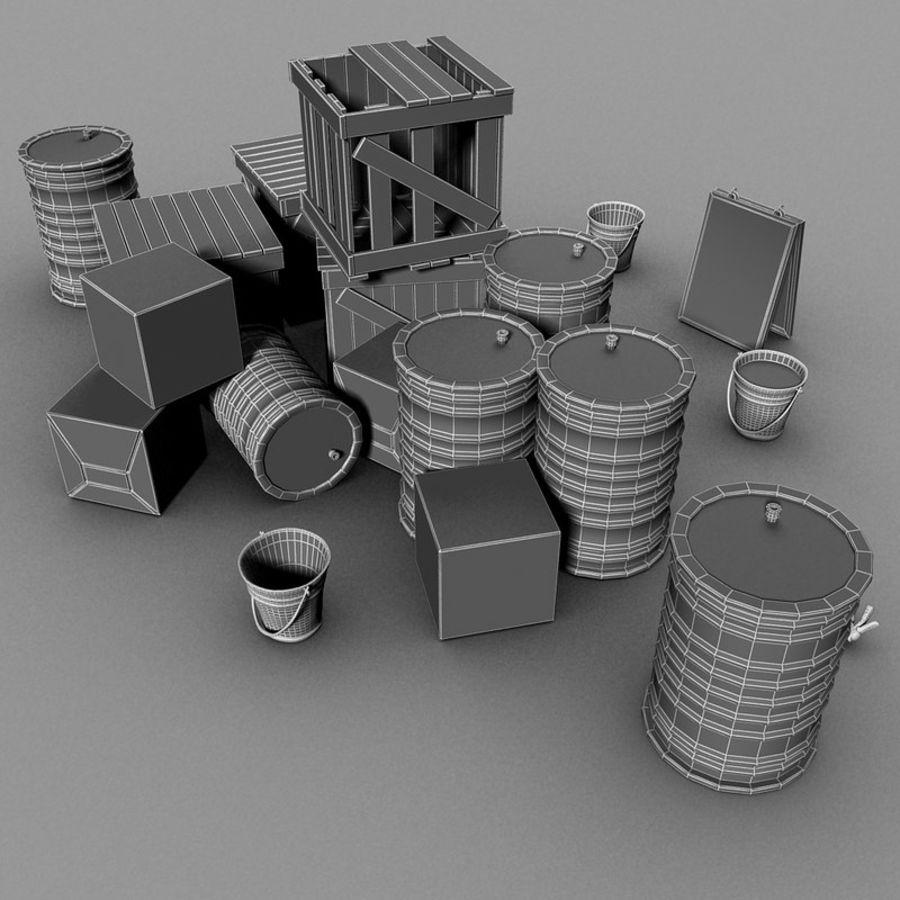 Junk Metal Barrels Wooden Crates royalty-free 3d model - Preview no. 20