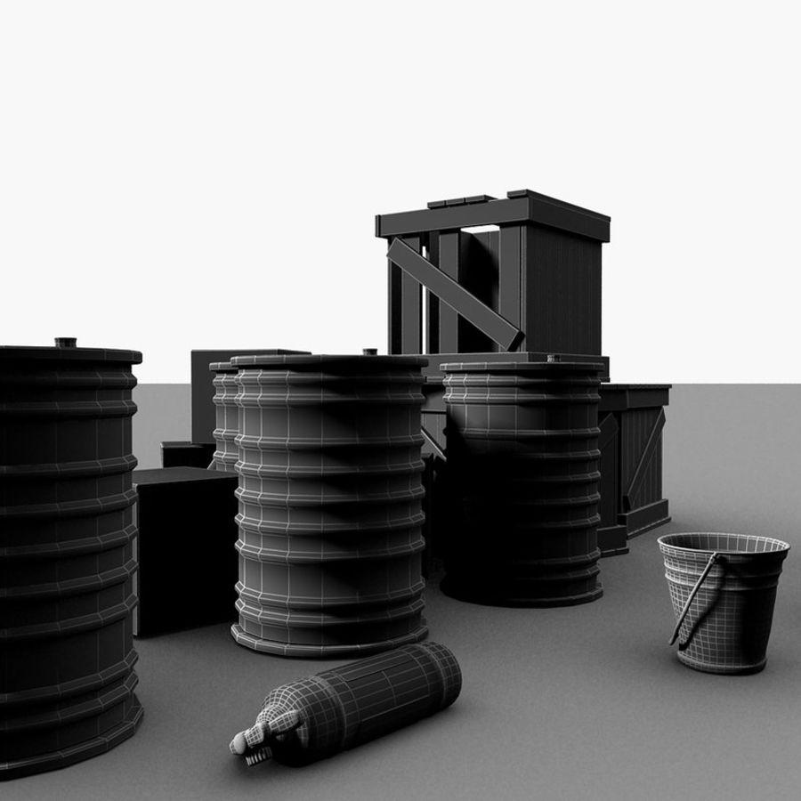 Junk Metal Barrels Wooden Crates royalty-free 3d model - Preview no. 24