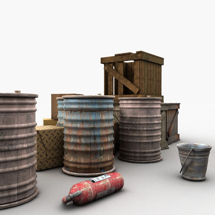 Junk Metal Barrels Wooden Crates royalty-free 3d model - Preview no. 12