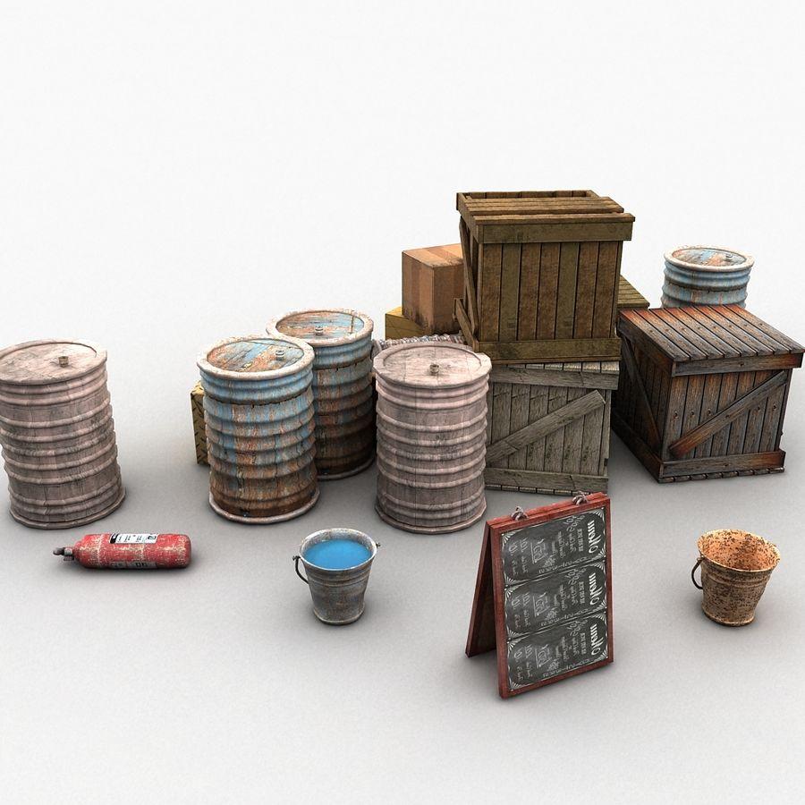 Junk Metal Barrels Wooden Crates royalty-free 3d model - Preview no. 5