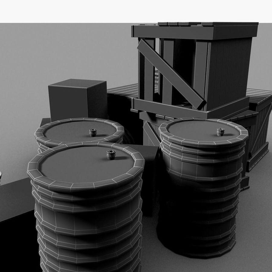 Junk Metal Barrels Wooden Crates royalty-free 3d model - Preview no. 22