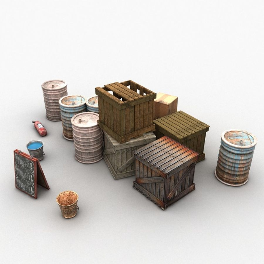 Junk Metal Barrels Wooden Crates royalty-free 3d model - Preview no. 6