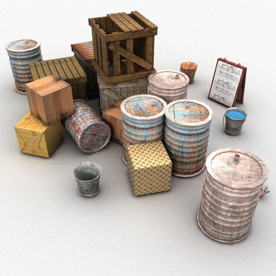 Junk Metal Barrels Wooden Crates royalty-free 3d model - Preview no. 2