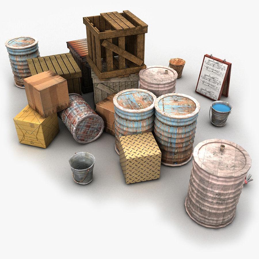 Junk Metal Barrels Wooden Crates royalty-free 3d model - Preview no. 1