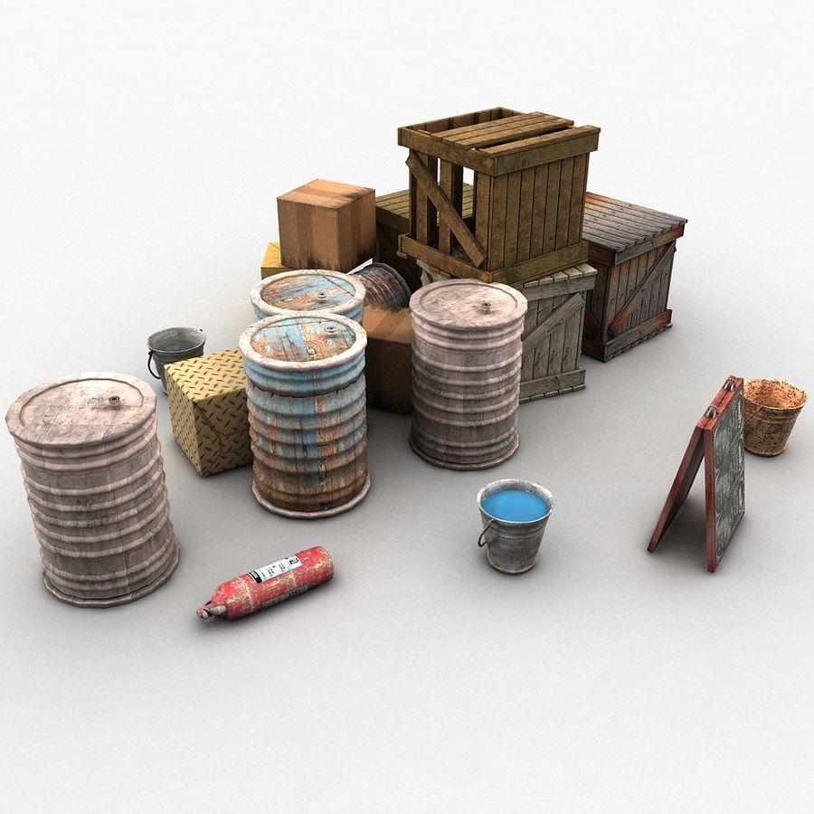 Junk Metal Barrels Wooden Crates royalty-free 3d model - Preview no. 3