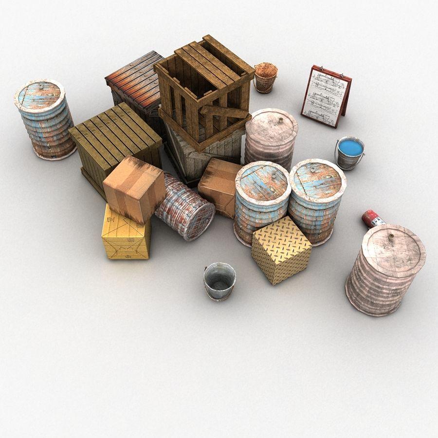 Junk Metal Barrels Wooden Crates royalty-free 3d model - Preview no. 9