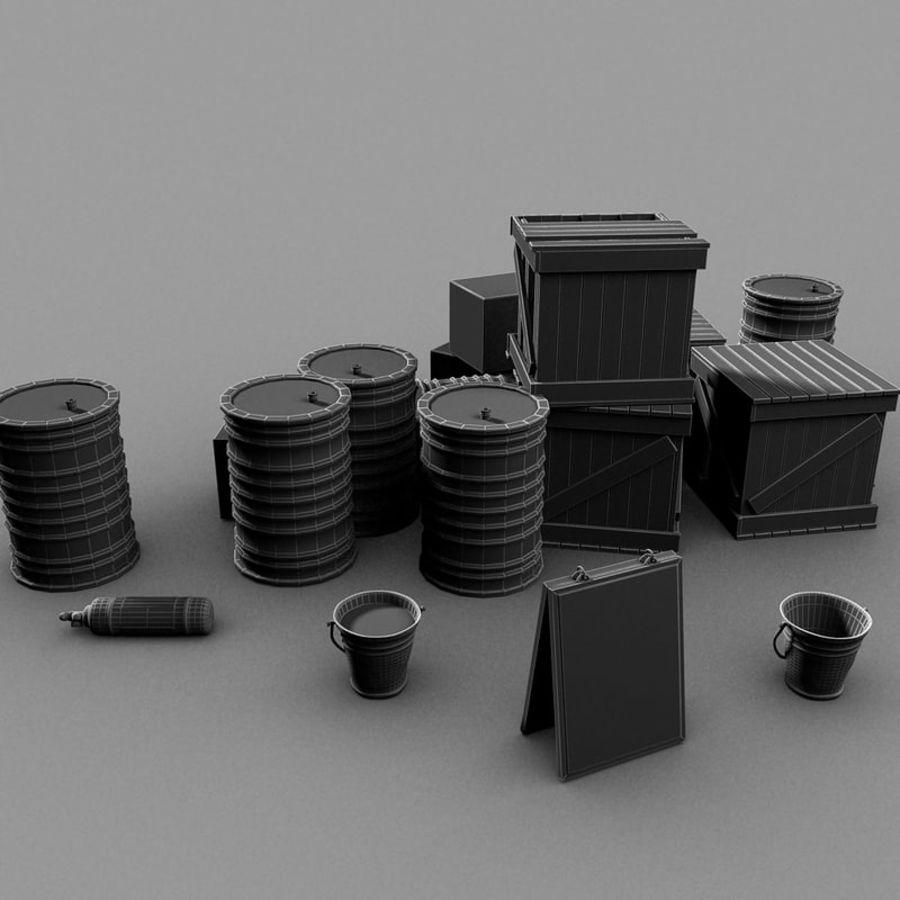 Junk Metal Barrels Wooden Crates royalty-free 3d model - Preview no. 16