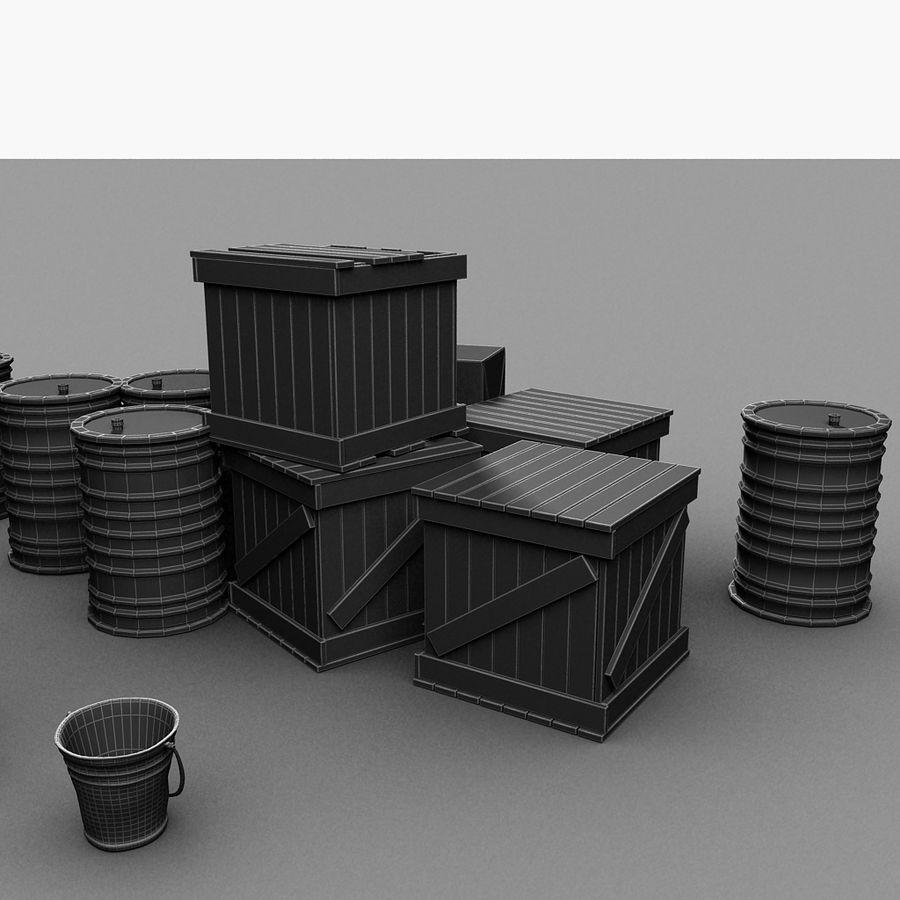 Junk Metal Barrels Wooden Crates royalty-free 3d model - Preview no. 25