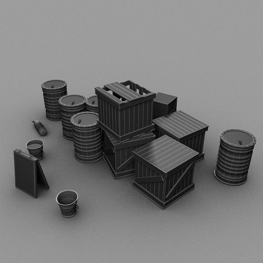 Junk Metal Barrels Wooden Crates royalty-free 3d model - Preview no. 17