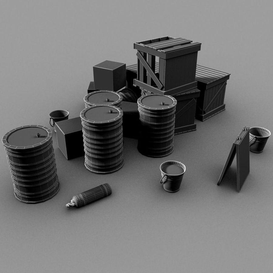 Junk Metal Barrels Wooden Crates royalty-free 3d model - Preview no. 14