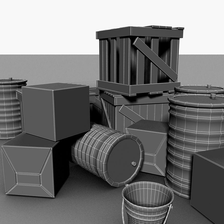 Junk Metal Barrels Wooden Crates royalty-free 3d model - Preview no. 23