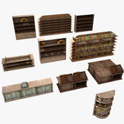 Wooden Store Stands Set 3d model