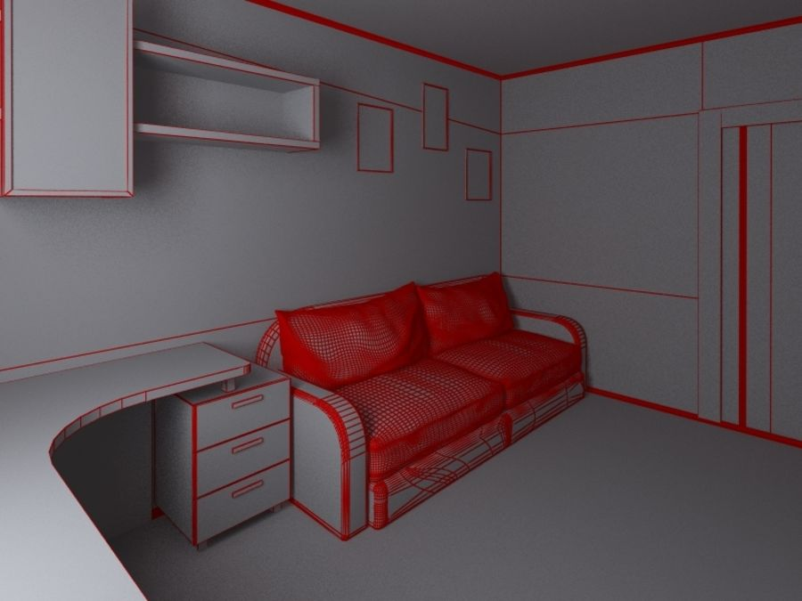 Interior of room royalty-free 3d model - Preview no. 8