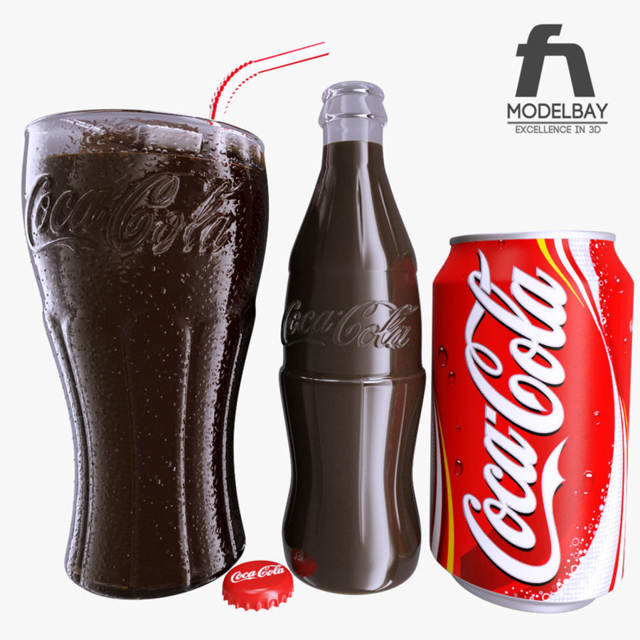 Detailed Coca Cola Bottle and Glass royalty-free 3d model - Preview no. 1