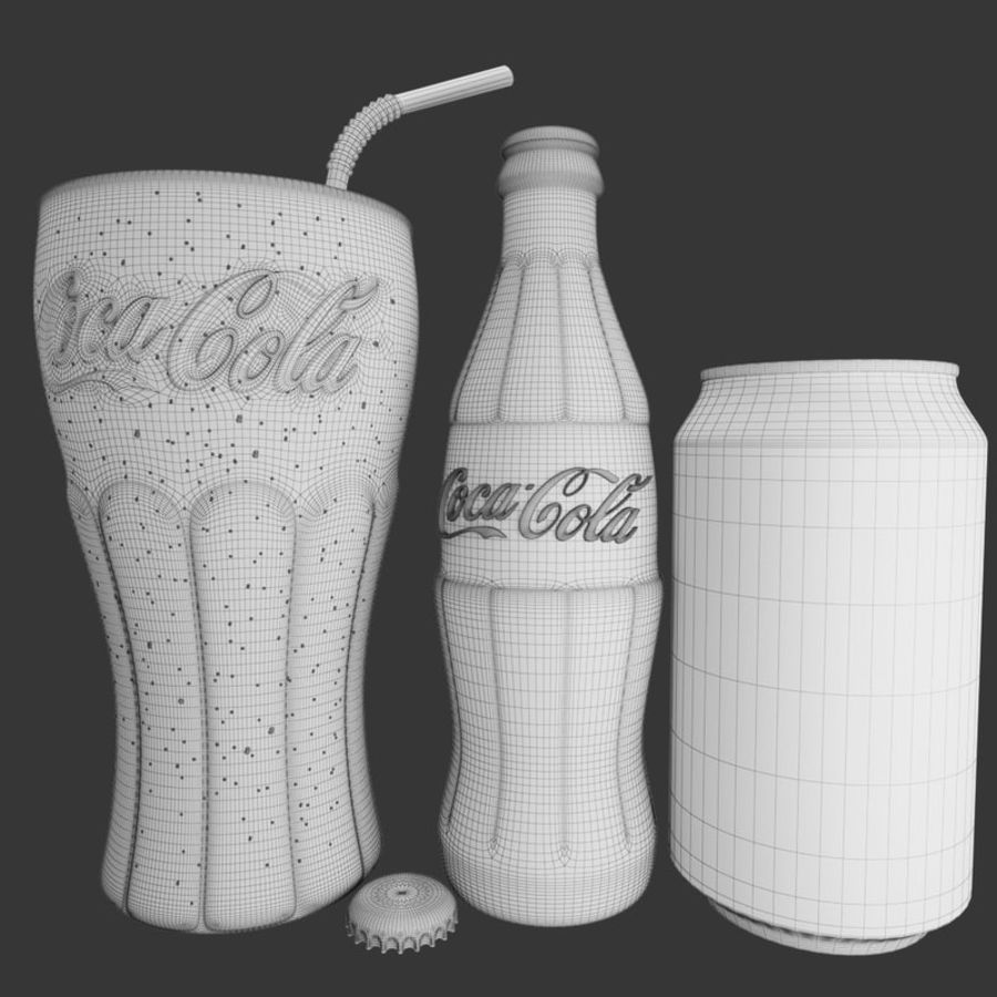 Detailed Coca Cola Bottle and Glass royalty-free 3d model - Preview no. 7